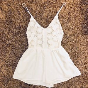 Worn once!! Hello Molly Backless White Romper
